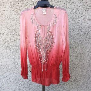 Ludi Ombré Gradient Red Pink Embellished Blouse 👚